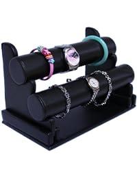 Schmuckständer mit abnehmenbar 2 Rollen für Uhr Armband Kette Kunstleder schwarz