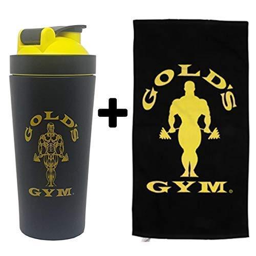 Gold\'s Gym Bodybuilding Fitness Accessori - Sacchi, Acqua Bottiglie, Proteine Shakers & Salviette. (Metallo Shaker+Asciugamano)