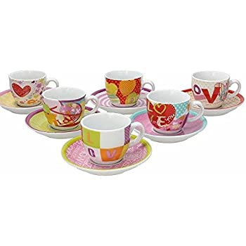 Tognana IR085343380 Set Tazzine Caffè Iris Love, Porcellana, Multicolore, 12 Unità