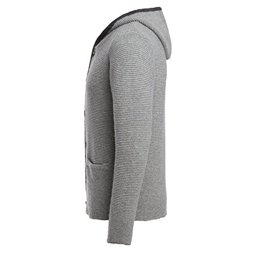 ALMBOCK Trachten Jacke Herren grau | Trachtenjacke mit Kapuze aus flauschiger und atmungsaktiver Lammwolle | Trachten Jacke Herren - Trachtenweste 54 - 3