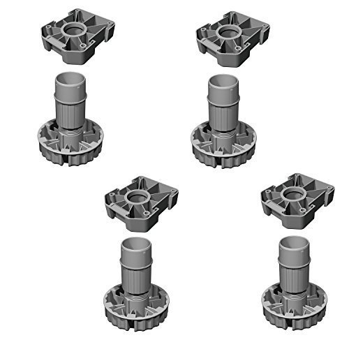 4 Stück - GedoTec Küchen Sockelfüße verstellbar Möbelfüße aus Kunststoff | Verstellfüße Höhe 80 mm | Komplett-Set | Stellfuß mit 500 kg Tragkraft | Markenqualität für Ihren Wohnbereich