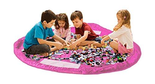 Bolsa de almacenamiento de juguetes para Lego, Bolsas de organizador, Alfombra de juego para niños - Organizador portátil de juguetes para niños (Pink)