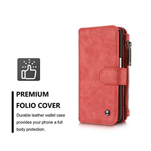 Wkae CaseMe abnehmbare Premium Leder Tasche, 13 Card Slots, 1 Foto Frame Reißverschluss Magnetische Bucht für Samsung Galaxy S7 Wallet Case, ( Color : Brown ) Red