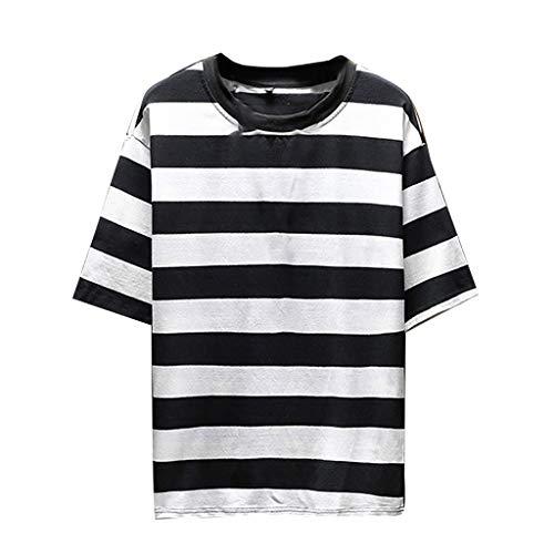 Herren Sommer Kurzarm Shirt Hemd Tops Eaylis Freizeitkleidung Mit Gestreiften NäHten