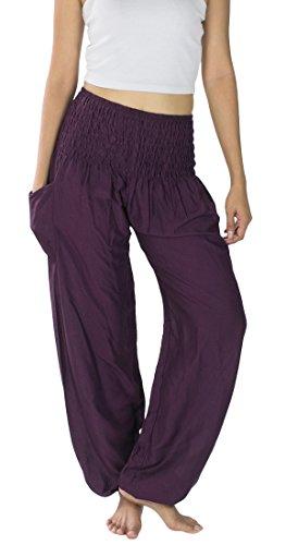 Lanna Lanna Plain Thai Harem Trousers / Harem Pants - Yoga, Festival & Boho Hippy Style Trousers / Rayon Aladdin Trousers