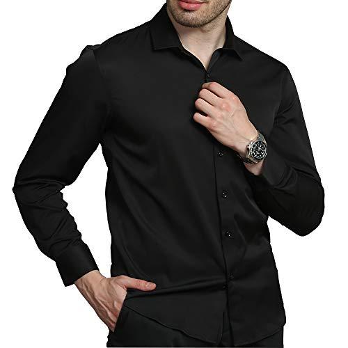 Kelasip camicia da uomo a maniche lunghe,camicia classica in fibra di bambù,camicia business da uomo slim fit,camicia casual,con maniche lunghe da 38 a 44, 5 colori