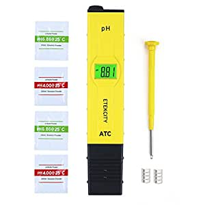 Etekcity Digital pH Wert Meter Messgerät Messer Tester mit großem LCD-Display ATC, 0,01 Auflösung und 0,00-14,00 Messbereich für Pool Aquarium Schwimmbad Haushalt und Labor, Gelb