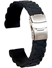 Ullchro Correa Reloj Calidad Alta Recambios Correa Relojes Caucho Link Pattern - 16mm, 18mm,