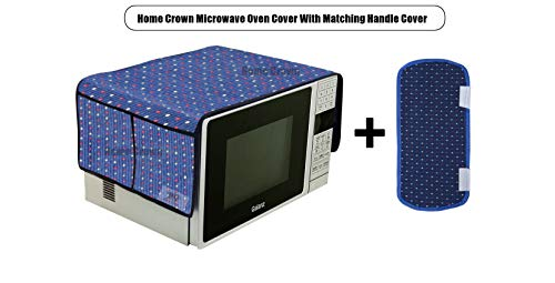 Home Crown Decorative Cotton Microwave Oven Cover with 4 Storage Pockets with 1 Matching Handle Cover Oven Top Cover (15X36inch) for 20-30 L Oven - Blue Color