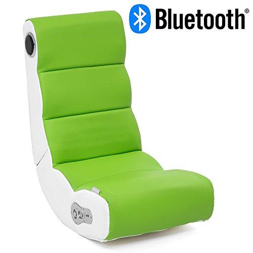 Wohnling Soundchair Wobble in Weiß Lime mit Bluetooth   Musiksessel mit eingebauten Lautsprechern   Multimediasessel für Gamer   2.1 Soundsystem - Subwoofer   Music Gaming Sessel Rocker Chair