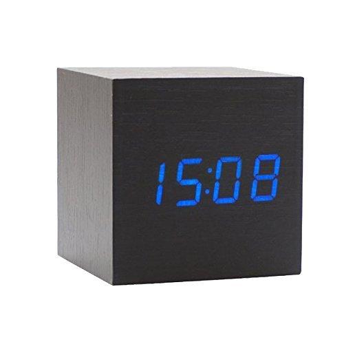 Onerbuy Wooden Digital Cube Wecker Touch Sound Aktiviert Schreibtisch Uhr Tragbare Reise Uhr mit LCD Display für Zeit, Temperatur, Kalender, 3 Alarm Einstellungen (Schwarz) (Laminat Cube)