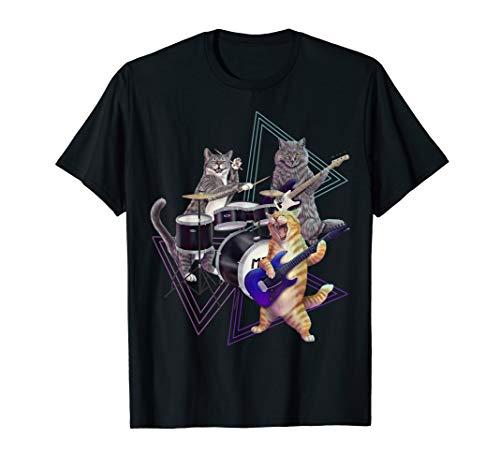 80er Kostüm Der Bands Jahre Rock - Cat Band - Rock Kätzchen auf Bass, Gitarre und Schlagzeug T-Shirt