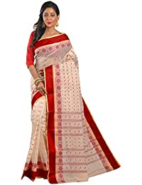 Avik Creations Women's Cotton Saree (Ac-1006A,Off-White, Red,Free Size)