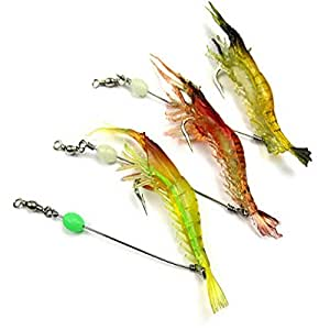 3pcs soft shrimp fishing lures with hook mixed color for Amazon fishing spinners