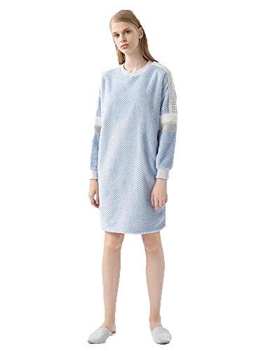 Donna inverno in velluto Coral Vestito da notte Gonna Pigiama blue