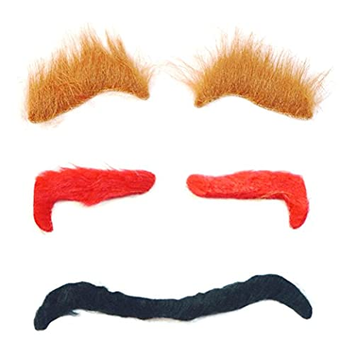 Tinksky 3PCS Halloween Simulation Eyebrow Masquerade Costume Ball Cosplay Party Funny Props Ghost Eyebrow