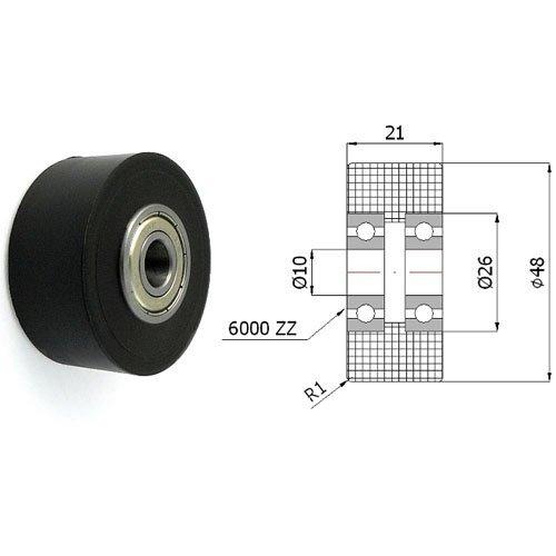 Zabi Doppelte Kunststoff-Polyamid-Rollen Nylon mit Kugellager Ø 48mm