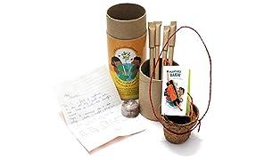 bioQ Eco Friendly Plantable Rakhi Set   Orange Sun : Mini Grow Kit   Includes : Mini Coco Pot + Coco Peat, 4 Seed Pens, 1 Pre-Written Letter   Grow Plants from Rakhi (tulsi Seeds)