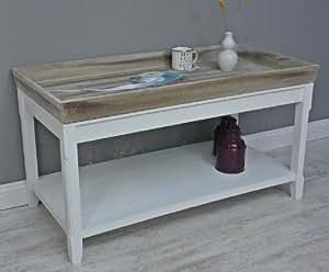 couchtisch tisch beistelltisch wei braun landhaus holztisch holz robust tablett. Black Bedroom Furniture Sets. Home Design Ideas