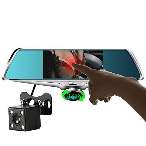Dashcam,360+140 Grad Vorne und Hinten Dual kamera Autokamera mit Nachtsicht,Akku,Loop-Aufnahme Audio und G-Sensor für Auto Parküberwachung,1080p HD Dual cams DVR Parkmonitor,NoCard