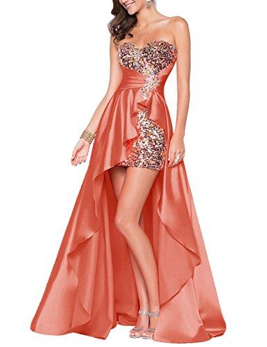 Bbonlinedress Robe de soirée Robe de bal emperlée en satin bustier en cœur Corail
