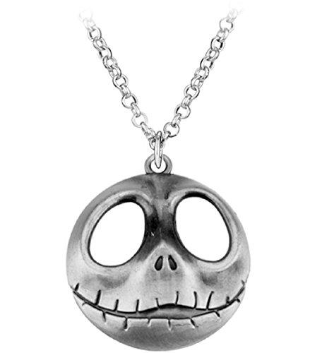 (Mesky Jack Skellington Halloween Halskette Anhänger aus Zinklegierung Silber Necklace Kostüm Zubehör für Alltag und Cosplay Ideales Geschenk für Damen und Herren)