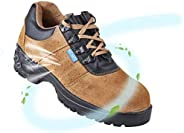 NEOSAFE Sporty Look, Breathable Sued Brown Leather Safety Shoes with Steel Toe