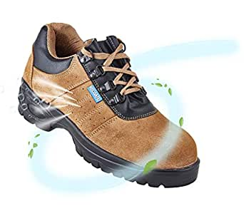 Neosafe A5022_10 Brawn, Sporty Look, Breathable Sued Brown Leather Safety Shoes with Steel Toe, Size 10
