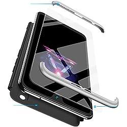 BESTCASESKIN Coque Compatible pour Xiaomi Mi Max 2 avec Protection Écran Verre Trempé Antichoc PC Housse de Protection 360 Degrés Anti Rayure 3 en 1 Étui Protecteur - Argent Noir