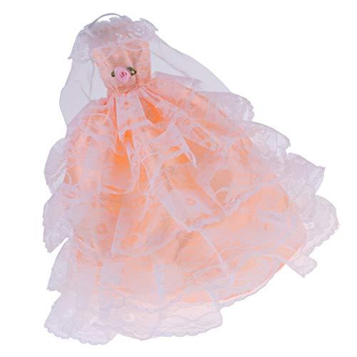 (Fenteer Hochzeitskleid Puppenkleid Partykleid Ballkleid Spitzenkleid mit Schleier für 29 cm weibliche Puppen)