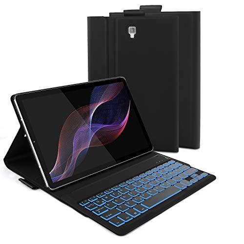 Jelly Comb Samsung Galaxy Tab S4 10.5 Tastatur Hülle, Bluetooth Beleuchtete Tastatur mit Schützhülle für Samsung Galaxy Tab S4 10.5 Zoll T830/T835, QWERTZ Deutsches Layout mit 7-farbigen Beleuchtung (7 Samsung Tablet-cover Für)