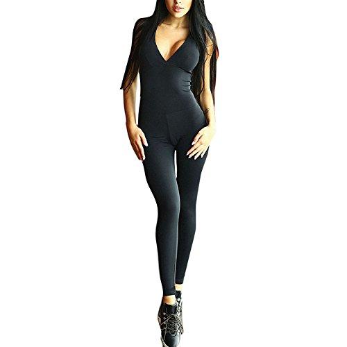 Femmes Fitness Pantalon Jumpsuit Bandage Pantalon de Survêtement Pantalon Femmes Sport Yoga Costume Survêtement Salopette Combinaison 8 Couleurs Noir