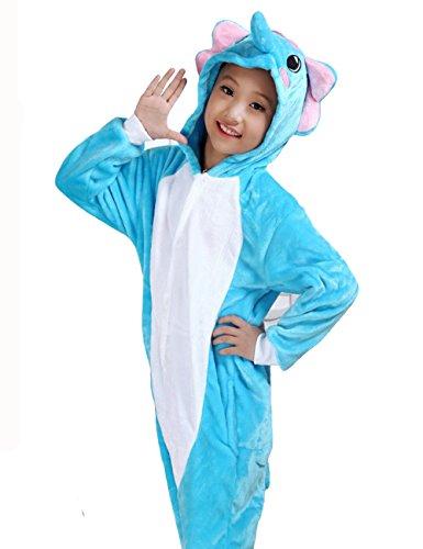 HONFONF Elefant Kinder Jumpsuit Kinder Onesies Anime Halloween Weihnachten Karneval Cosplay Kigurumi Outfit Kostüm Stück Anzüge (Molkerei Mädchen Kostüm)