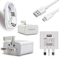 Samsung 3-pin UK Fast Charger with cable Type-C for Galaxy A3-2017/A5-2017/A7-2017/S8 - White