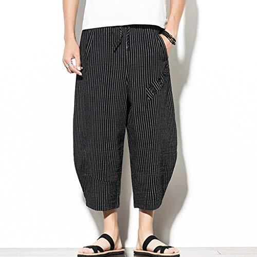 hahashop2 Herren Men Casual Strandhosen Hose Jogging Pants, in Vielen Verschiedenen Größen und Farben Gestreifte, kurz geschnittene Leinenhose im chinesischen Retro-Stil