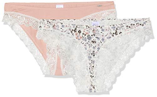 Skiny Damen Sweet Cotton Mix Rio Slip 2er Pack Taillenslip, Mehrfarbig (ivyflower Selection 2034), 40 (2erPack) -