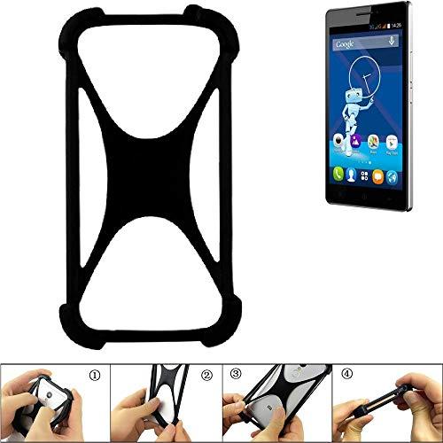 K-S-Trade Handyhülle für Haier Voyage V3 Schutz Hülle Silikon Bumper Cover Case Silikoncase TPU Softcase Schutzhülle Smartphone Stoßschutz, schwarz (1x)