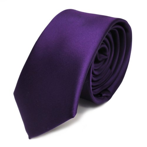 TigerTie schmale Satin Krawatte dunkles lila violett uni Polyester - Tie Schlips Lila Uni