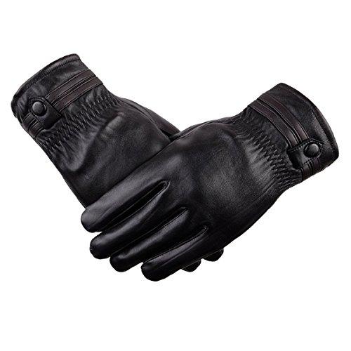 Hiver Hommes Plus Velours épais Chaud Froid Mode La Nature Gants D'équitation Black