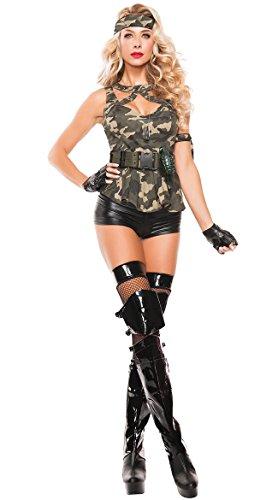 6 Stück Armee-Soldat Kostüm/Kleidung Tarnanstrich Top Bandana Gürtel Handschuhe und Shorts Größe ()