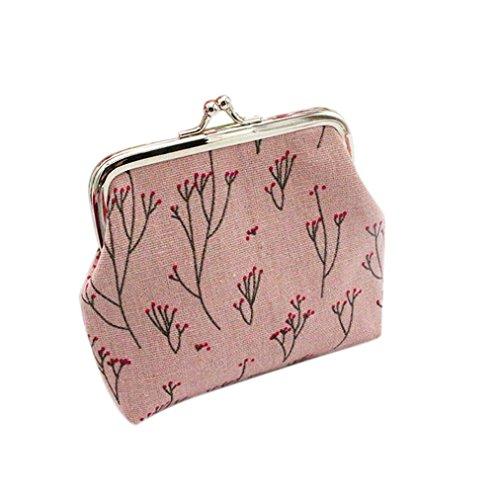 Amlaiworld Frauen drucken Brieftasche Kartenhalter Münze Handtasche Clutch Handtasche (Rosa) (Münze Leder Inhaber)