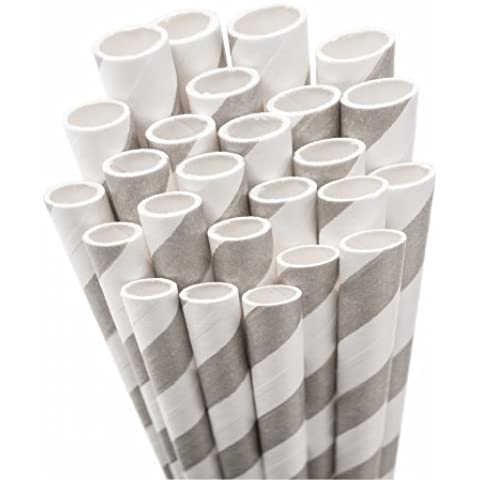 Aardvark Paper Straws STRAW-GREY Jumbo Straw Unwrapped 7.75 50/Pkg-Gray & White Striped by Aardvark Paper Straws