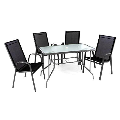 Nexos ZGC34477_SL_S2 5-teiliges Gartenmöbel-Set – Gartengarnitur Sitzgruppe Sitzgarnitur aus Stapelstühlen & Esstisch – Stahl Glas – Textilene schwarz/Rahmen grau,