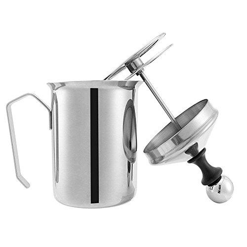 Dooret Montalatte, frullatore manuale da 400ml, creatore di cappuccino in acciaio inossidabile fai-da-te con pompa a doppia schiuma e lanciatore di schiuma