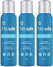 Neusafe 70% Alcohol Based, No Gas Instant Spray Sanitizer, Kills 99.9% Germs Without Water, Skin and Surface F