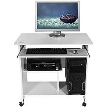 Mari Home - Knighton Blanco escritorio de la computadora Mesa de ordenador moderna Escritorio para hogar o oficina con portateclado