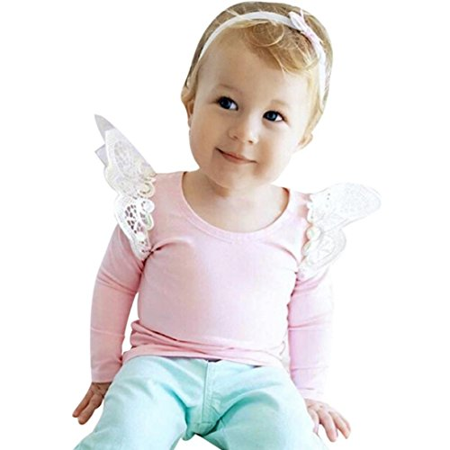 Amlaiworld Baby Mädchen Blumen Spitze Langarmshirt Winter Kleinkind warm Engel pullis,0-24Monate (Rosa, 3 Monate)
