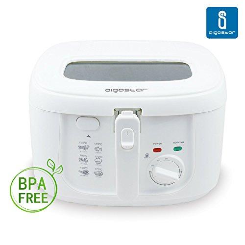 Aigostar Indra 30HEX - Freidora de 1800 watios, 2'5 litros de capacidad, toque frío. Diseño y calidad. Libre de BPA.