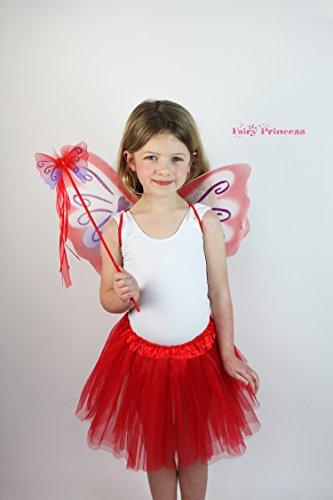 Fairy Princess Sugar Plum Fairy–Rot Lila Fee Flügel, Zauberstab, und Tüll Tutu Kleid–bis, Fee Kostüm Fee, Buchen Woche, ()
