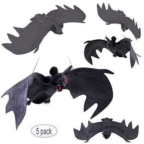 MUCHEN-SHOP Halloween Fledermäuse,5er Pack Halloween Fledermaus Dekor Horror Gummi Hängefledermäuse Realistische Gespenstische Aufhänger Spielzeug für Partyartikel und Dekoration